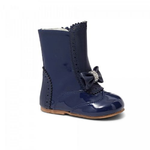 Girls Patent Boot with Diamante Bow